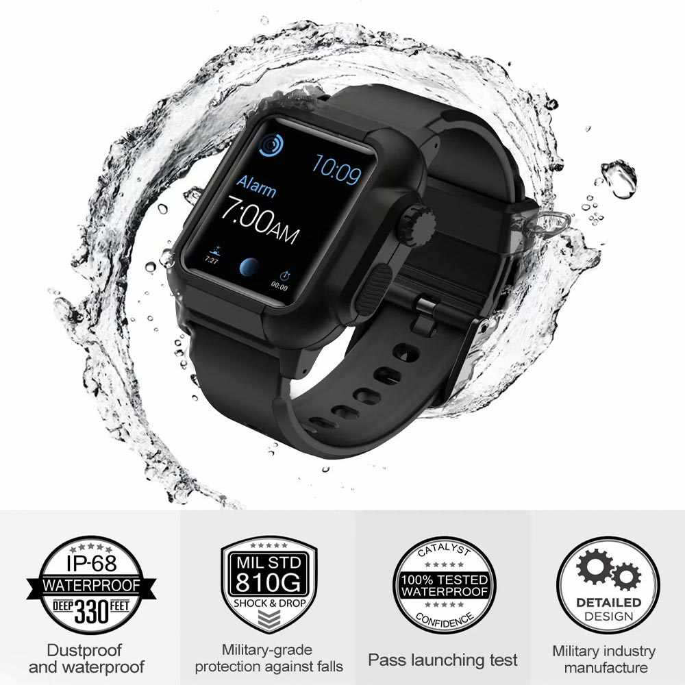 finest selection c0c79 609d5 For Apple Watch Series 4 3 2 Case with Silicone Band for iWatch Cover 42mm  44mm New Waterproof Shockproof Impact Resistant Case