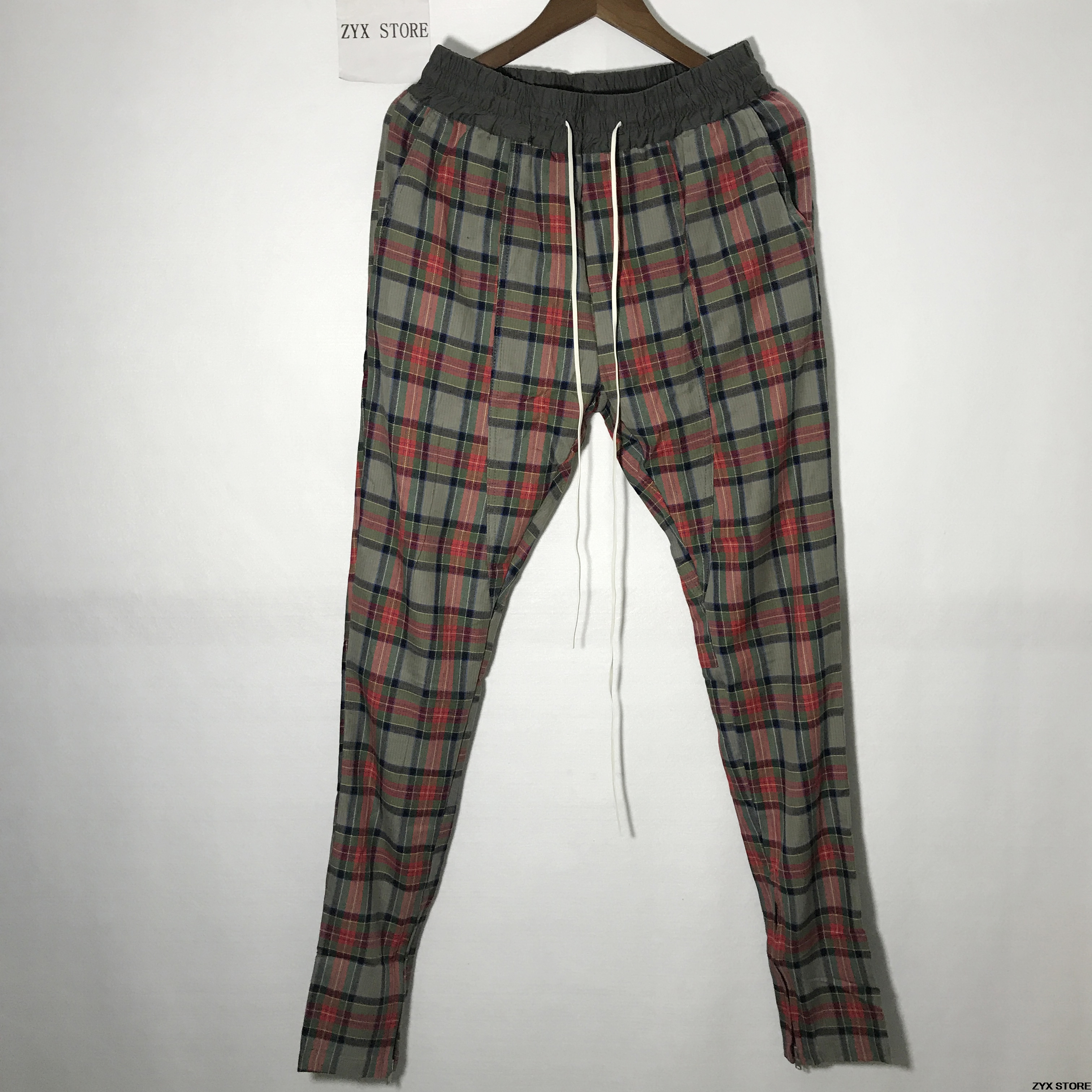 Best Version Fear Of God Fifth Collection New Plaid Pants Hiphop Justin Bieber Scotch Lattice Side Zip Men FOG Pants Trousers