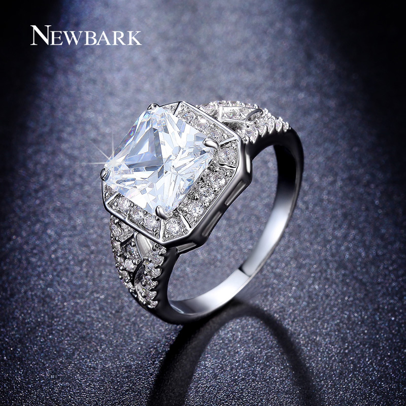 NEWBARK Vintage Party Ring White Gold Plated Anillos 8mm 2ct Princess Cut AAA+ Cubic Zirconia Jewelry Rings Women - Newbark Official Store store