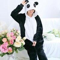 New Winter Character Panda Unisex Adults Couple Flannel Pajamas Sets Cosplay Cartoon Animal Onesies Sleepwear For