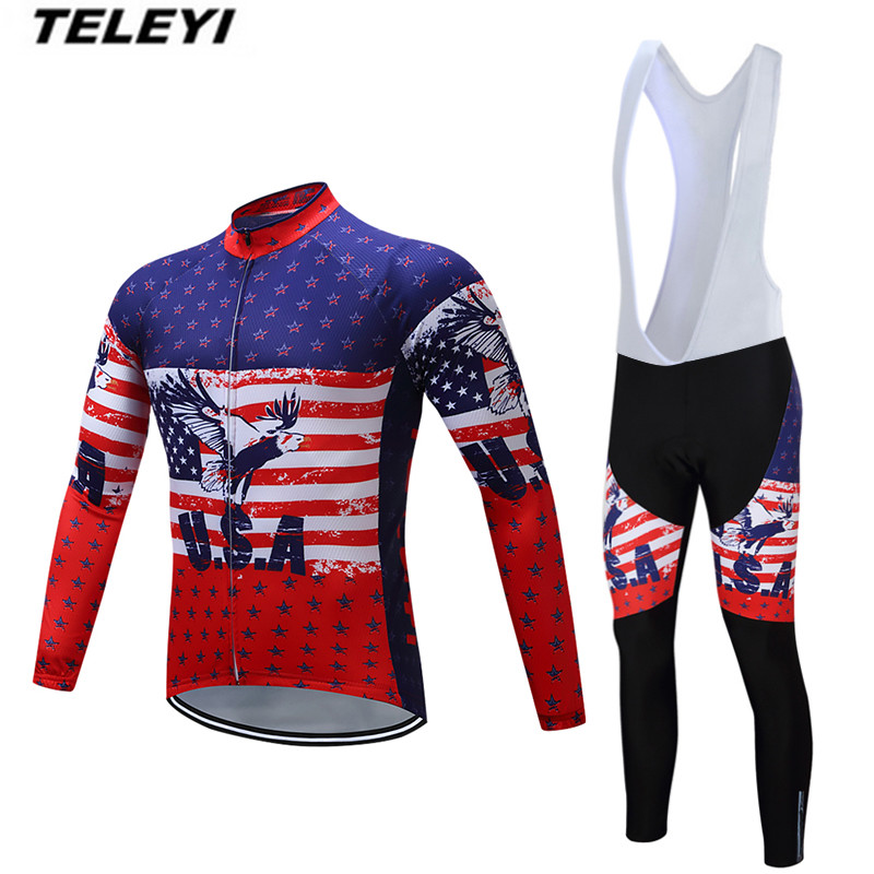 TELEYI USA MTB Bike jersey Bib Pants <font><b>Set</b></font> Men Cycling clothing Suit Ropa Ciclismo Maillot trouser Riding Long Sleeve Jacket Red