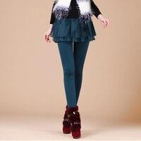 New Winter Fleece Ladies Warm Skinny Casual Organza Skirt Pants Long Trousers Women Wine Red Warmer Leggings