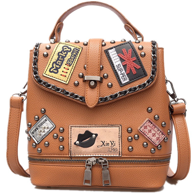 ФОТО 2017 new design fashion high quality shoulder bag multi-purpose package rivet female bag student backpack lady small backpack