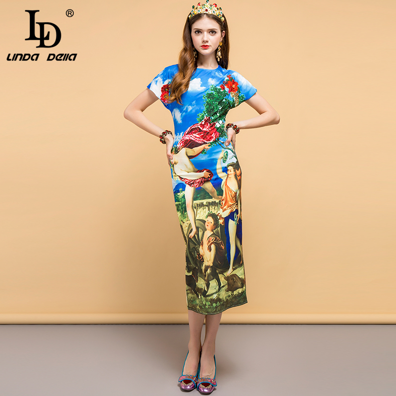 LD LINDA DELLA Runway Summer Dress Women s Angel Floral Print Sequined Beading Casual Holiday Party