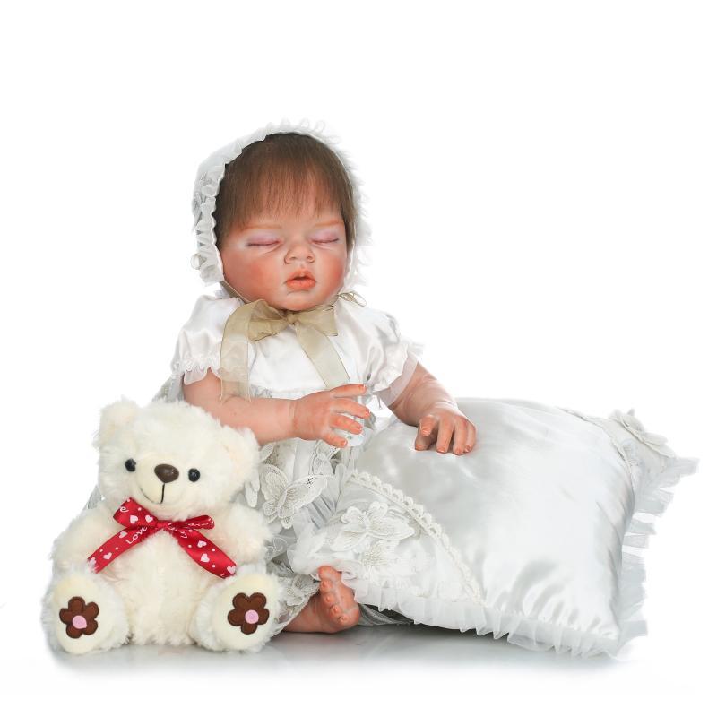 55cm Silicone Reborn Sleeping Baby Doll Toys Lifelike High Quality 22inch Princess Newborn babies Doll With Bear Birthday Gift lifelike silicone reborn baby dolls with bear toys accompany newborn babies sleeping doll christmas birthday gift brinquedos toy