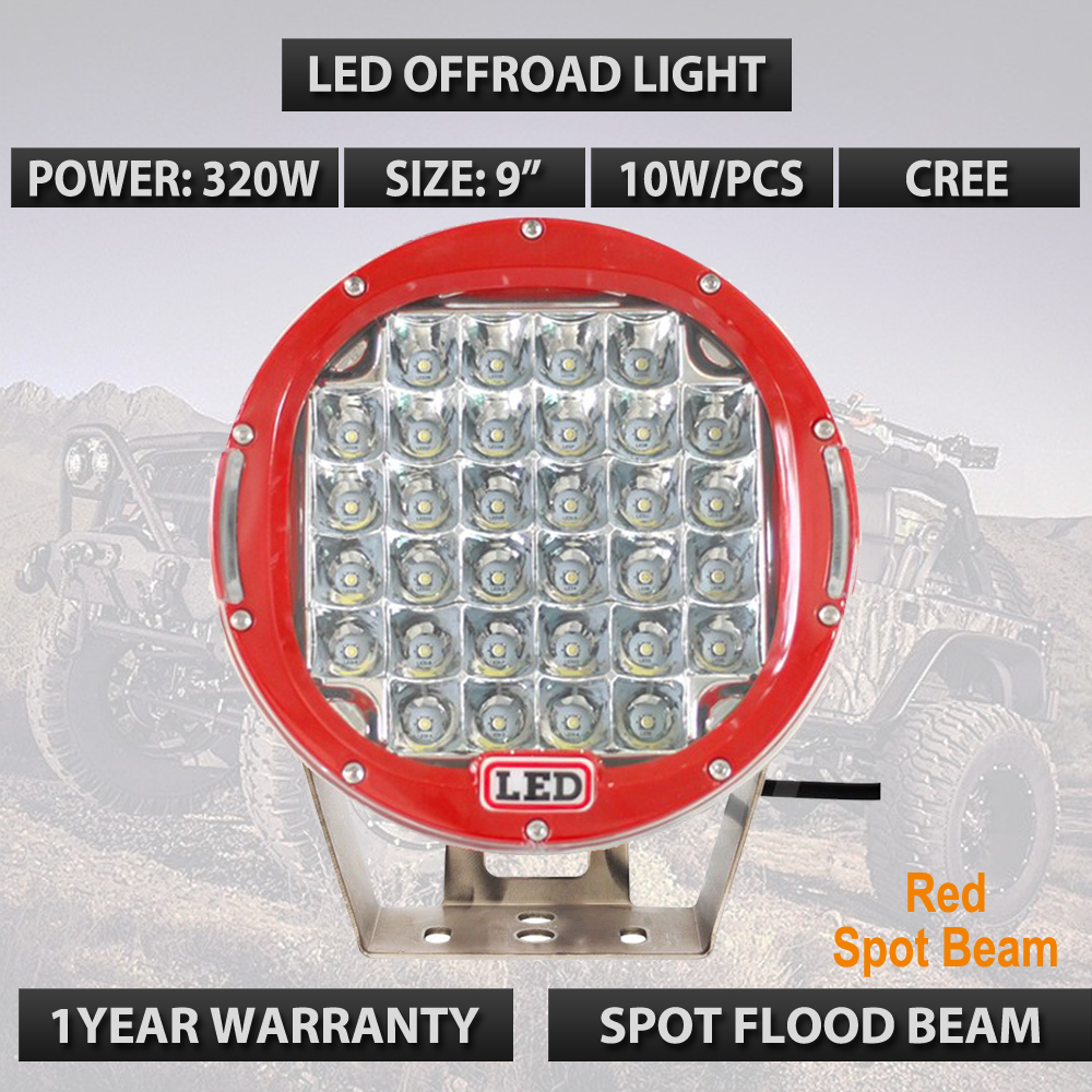 Super Bright led Round 9 Inch 320W Red Black Led Off Road Lights For Wrangler Golf Car Boat SUV Offroad Truck 12V 24V Lights x1
