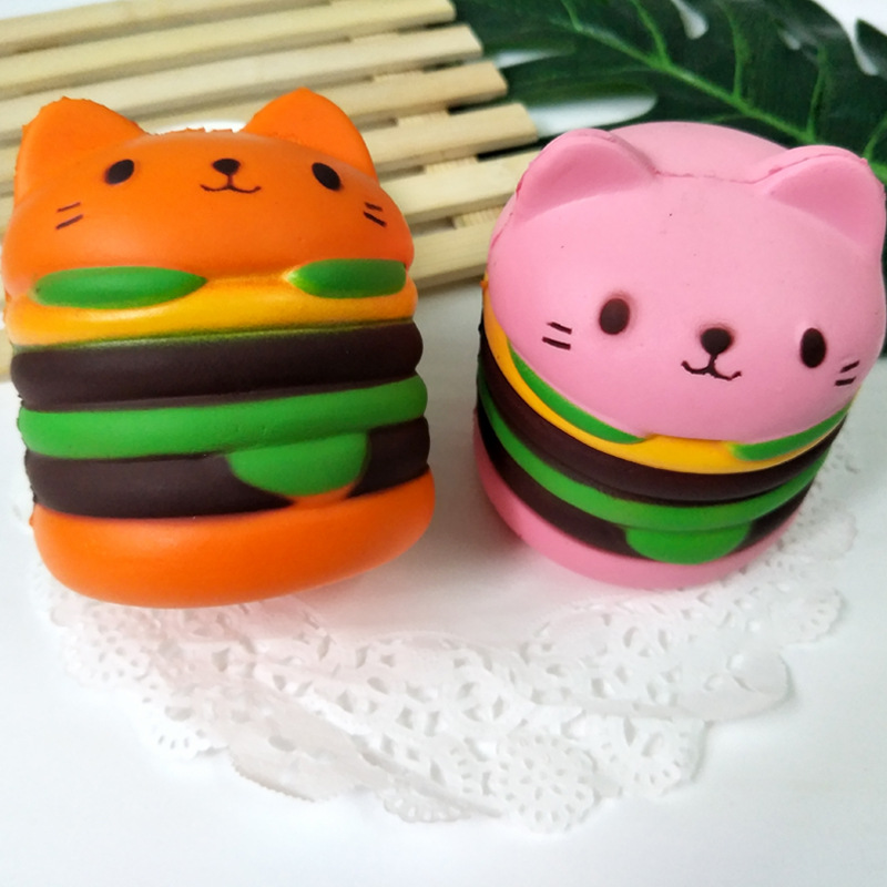 2018 New Kawwaii Children Slow Rising Squishy Toys Antistress Cat Hamburger Gift for Adult Stress Reliever Funny Toy Free Ship