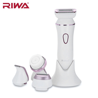 RIWA RF 1202 IPX7 Waterproof Electric Facial Cleaning Brush Lady Shaver 3 In 1 Sharp Stainless Steel Blade Rechargeable Epilator
