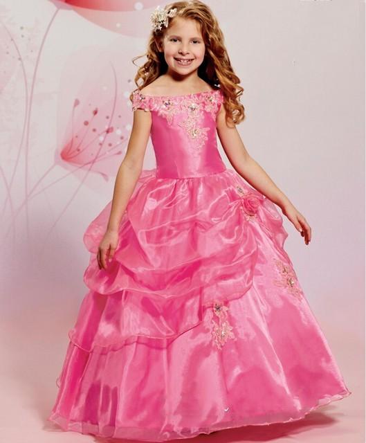 Rosa desfile vestidos de bola para las niñas 2016 dulce niña vestido ...