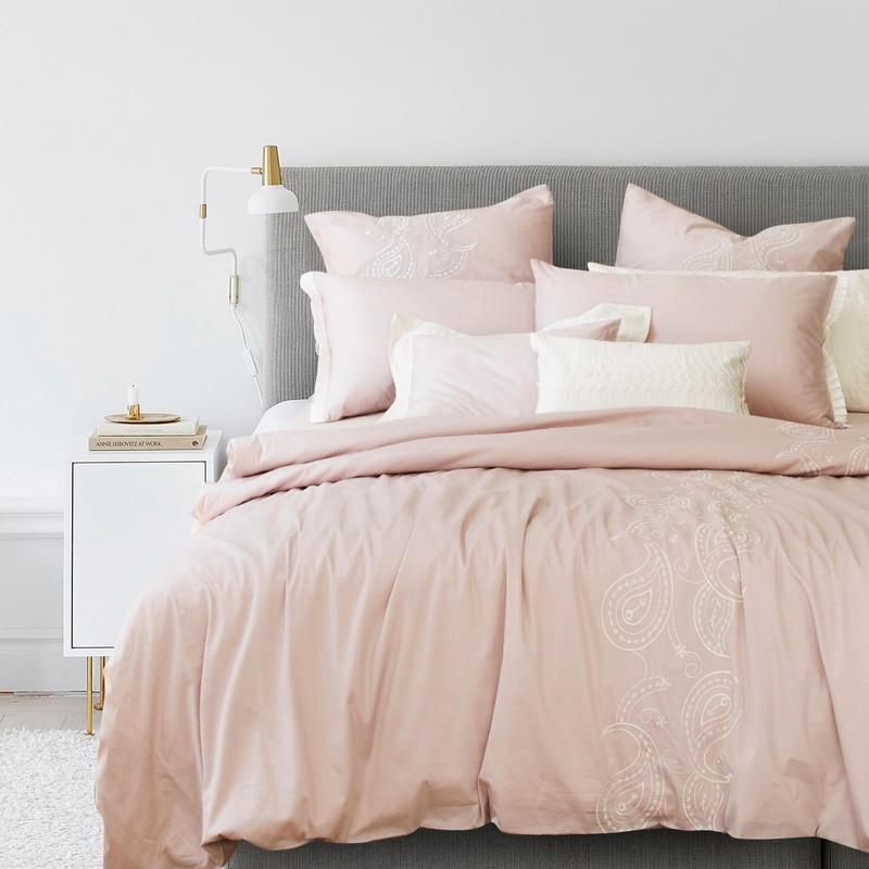 adream algodn del lecho de la flor bordada funda nrdica conjunto rosa textiles para