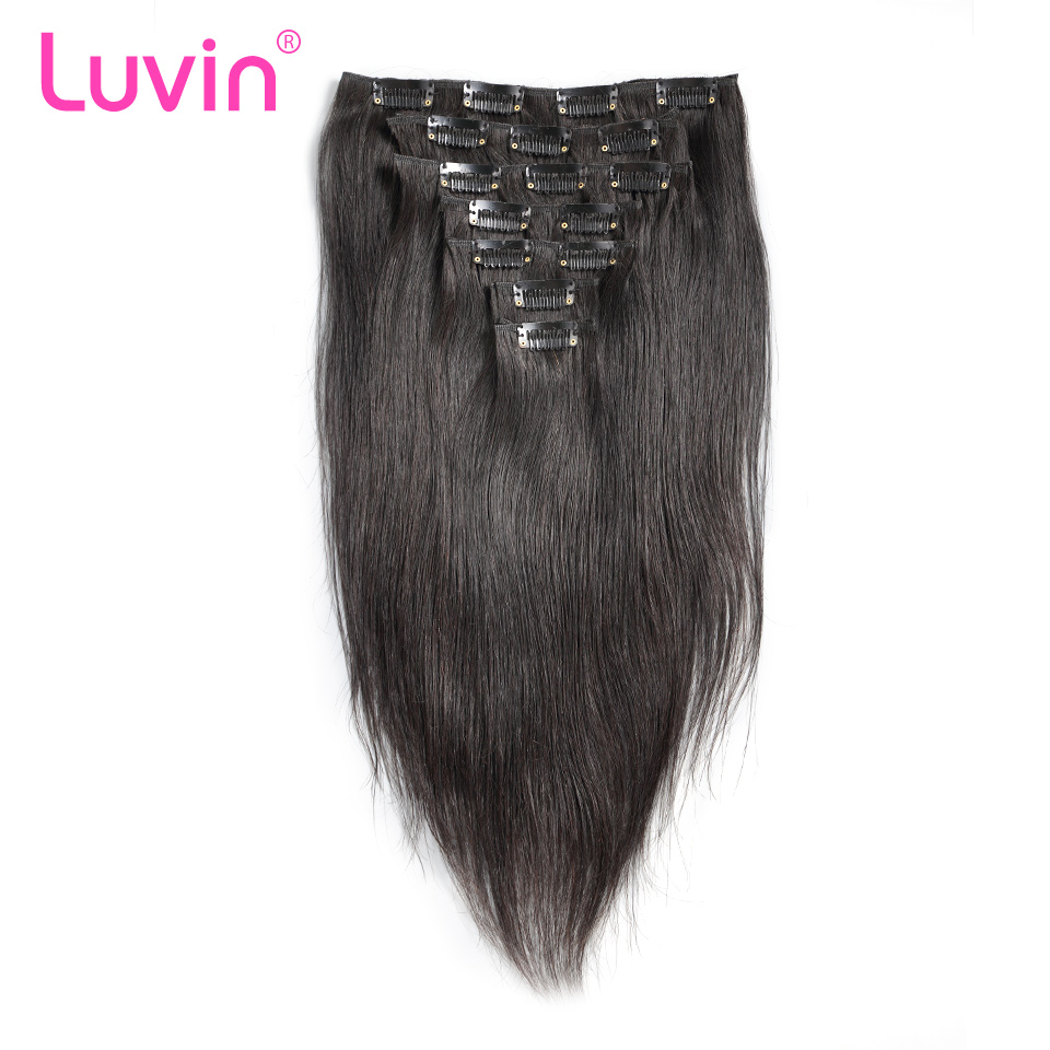 Luvin Clip In Human Hair Extensions 100G Natural Color 7 Pieces 100% Brazilian Remy Hair For Women Shipping Free