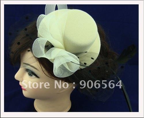 Модные аксессуары для волос, аксессуары для волос, мини аксессуары для волос шляпы, Женские коктейльные шляпы, 6 шт./лот,, 5 цветов, разные цвета, msf048