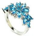 7 # Классический Швейцарский Голубой Топаз SheCrown женщины Свадьба Создания Серебряное Кольцо 22 х 16 мм
