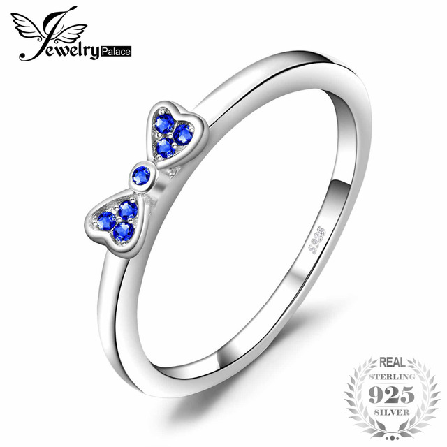 JewelryPalace Exquisite Created Blue Spinel Bow Stackable Ring 925 Sterling Silv