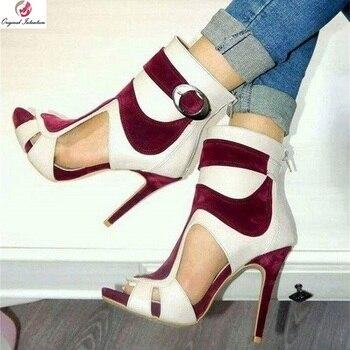 Original Intention Women Sandals Open Toe Stylish High Heels Shoes Summer Party Shoes Woman Plus Size 4-20
