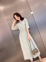 Новинка 2019 года, однотонные женские платья с короткими рукавами и карманами, на пуговицах, с отложным воротником, синего цвета, 3 размера