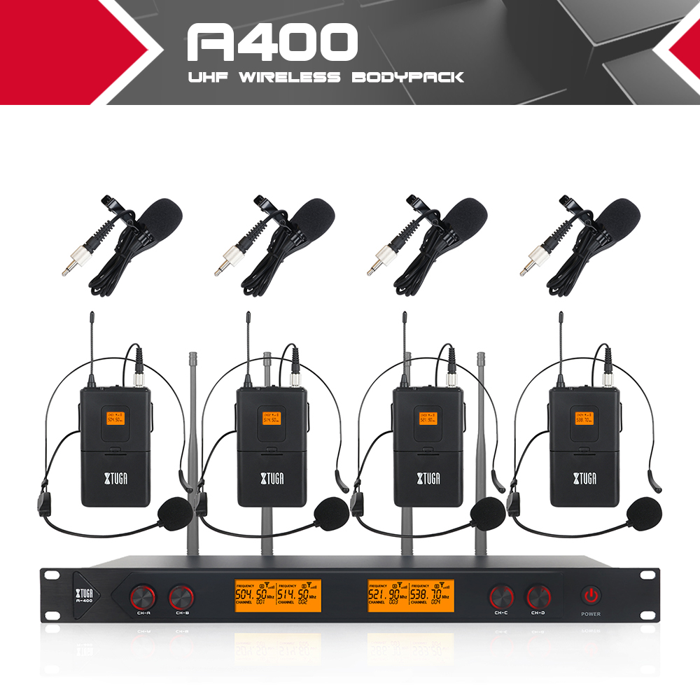 XTUGA A400 Metal Material 4 Channel UHF Wireless Microphone System with 4 Bodypack use for Stage