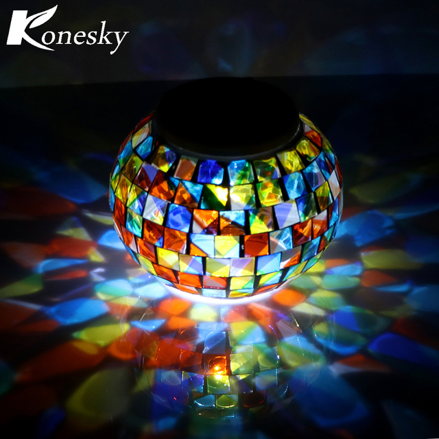 Mosaic Gl Ball Garden Lights Color Changing Led Solar Light Waterproof Ed Table Lamps For Parties Decorations Xmas