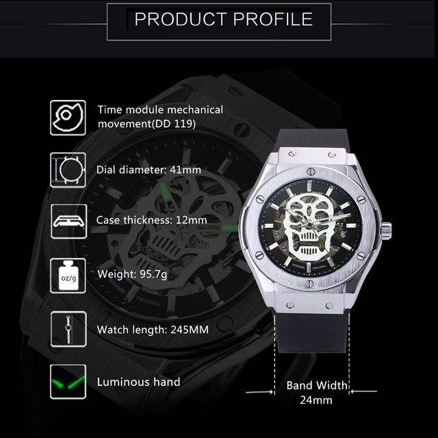 AUTO MECHANICAL SKULL WATCHES (4 VARIAN)
