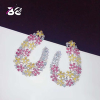 Be 8 Luxury Flower Shape AAA+ Cubic Zironia Pave Multicolour Stud Earrings for Women Jewelry Boucle D'oreille Gift E766