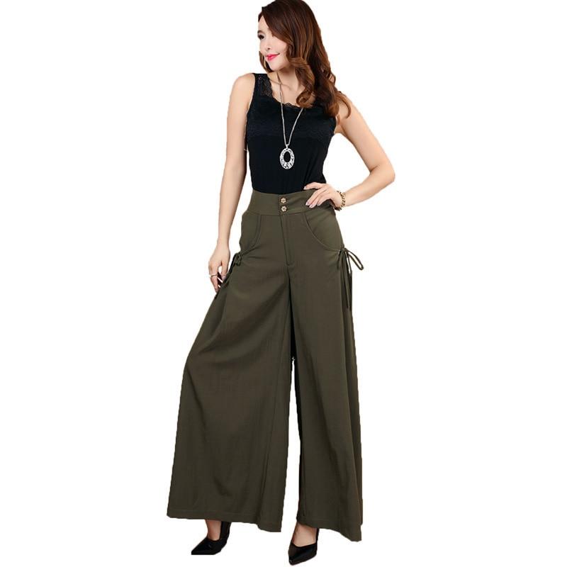 2017 New Spring summer Women Plus size   Wide     Leg     Pants   Fashion Leisure   Wide     Leg     Pants   Ladies   Wide   Legged Skirts   Pants   KP1418