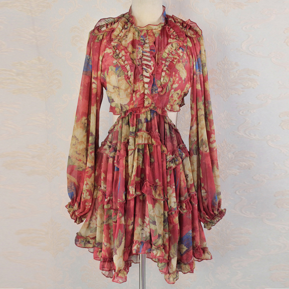 Red RoosaRosee Sexy Backless Long Lantern Sleeve Ruffle Red Floral Print Mini Dress 2019 Summer Women