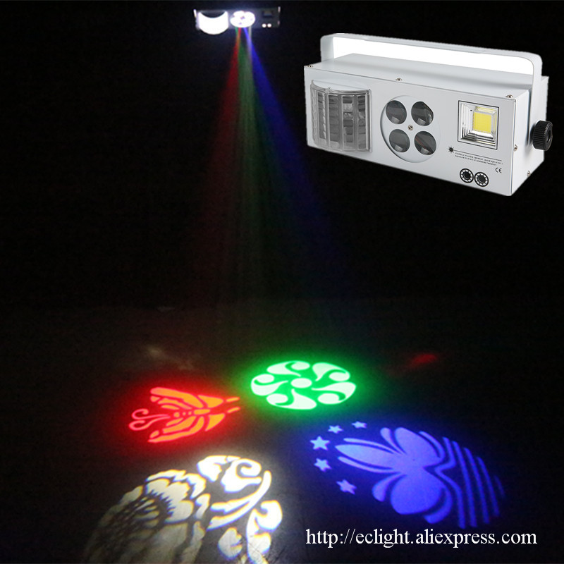 2017 New LED 4 in 1 Laser flash Gobo Strobe butterfly derby light DMX512 Disco Club Party Home entertainment stage light effect новый разработанный 10 шт лот мощный 300 вт strobe light с 832 шт 5630 led strobe свет этапа dmx 512 3 6 канальный строб сценического освещения