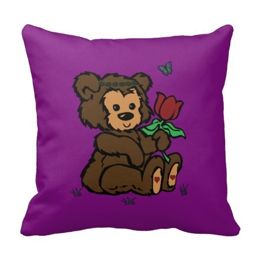 Cute Hippie Bear Headband Flower Butterfly Throw Pillow Case (Size: 45x45cm) Free Shipping