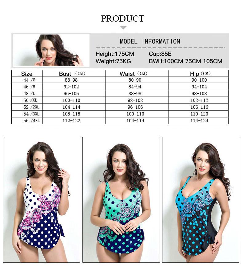 Latest ! Vintage Pad Swimwear Women Retro Plus Size One Piece Swimsuit Dress 4XL Floral Dot Backless Soft Bathing Suit F1692 5