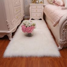 White fur bedside carpet bedroom full of cute rug imitation wool bay window long mat living room fluffy