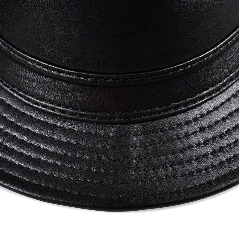 e4eb0bd6f12e6 Winter Genuine Leather Wide Brim Stetson Fedoras British Hats For Men Women  Gentman Black 55 61cm Fitted Jazz Hip Pop Gorras-in Fedoras from Apparel ...
