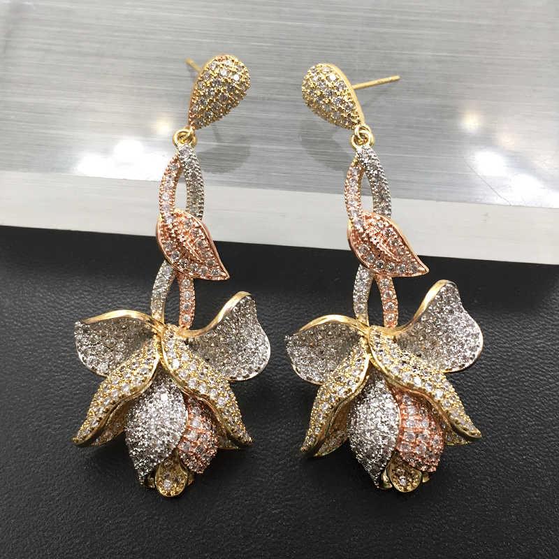 Lanyika แฟชั่นเครื่องประดับ Elegant Luxury ดอกไม้ยาว Cubic Zircon ต่างหู Micro Pave สำหรับงานแต่งงานเจ้าสาวยอดนิยมที่ดีที่สุดของขวัญ