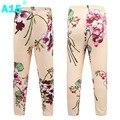 A15 impressão calças leggings meninas roupas da menina da criança da menina 2017 primavera queda crianças Leggings para As Meninas 8 Cores 4 8 10 12 Anos de Idade
