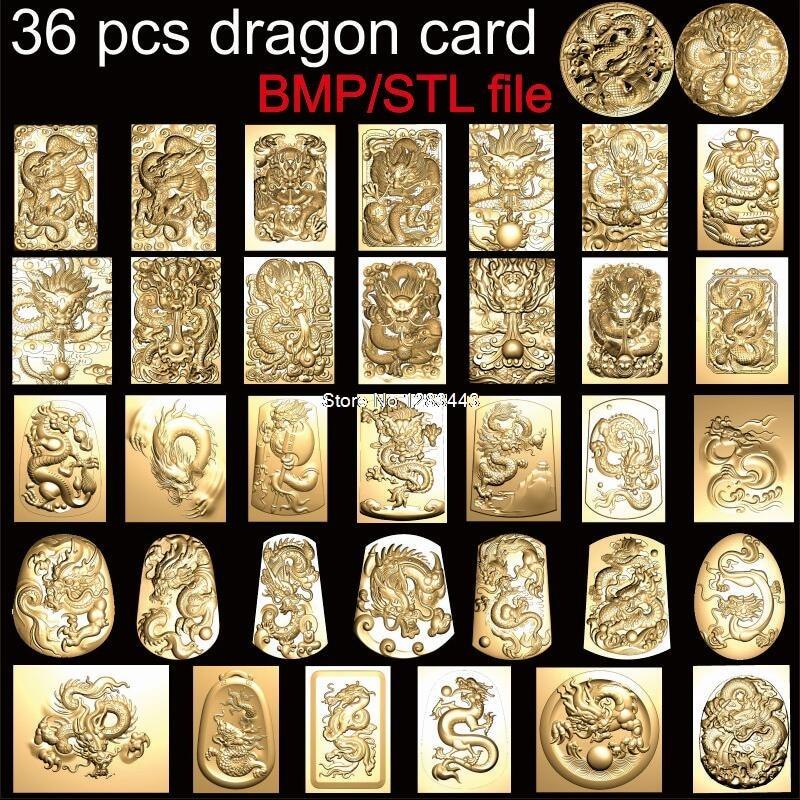36 Pcs Dragon Cards 3d Model STL Relief For Cnc STL Format Photo Frame Relief Model STL Router Engraver ArtCam 3D Printing Model