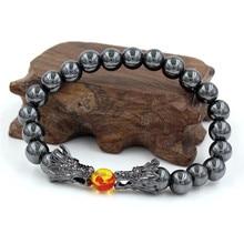 Natural Black Lava & White Howlite Stone Beads Bracelet Pulseira Masculina Mens Jewelry Buddha Dragon Bead For Women