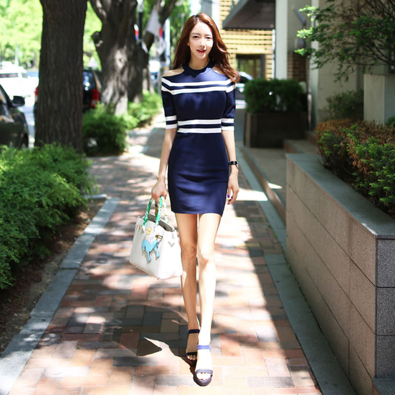 2019 summer new Korean temperament leaking shoulder color matching stripes slim knit sleeves hip dress in Dresses from Women 39 s Clothing