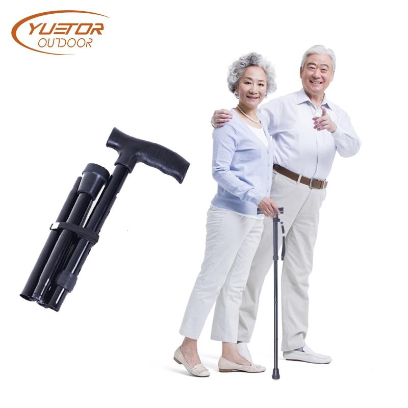 T handle Telescopic Black folding Walking Sticks Aluminum Alloy Trekking Hiking Poles Bastones Para Ancianos A Cane for elder