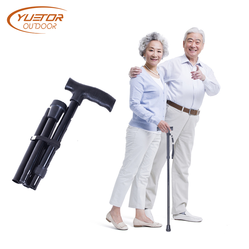 T handle Telescopic Black folding Walking Sticks Aluminum Alloy Trekking Hiking Poles Bastones Para Ancianos A Cane for elder