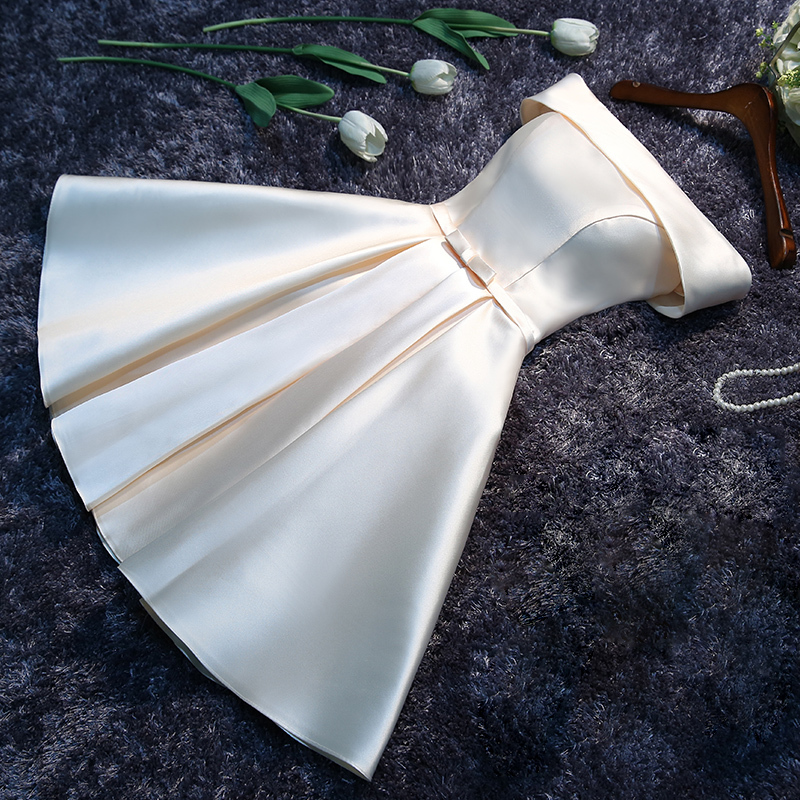Dress Bridesmaid-Dresses Satin Wedding-Party Gown Lace-Up Short Neck White Cloth Toast