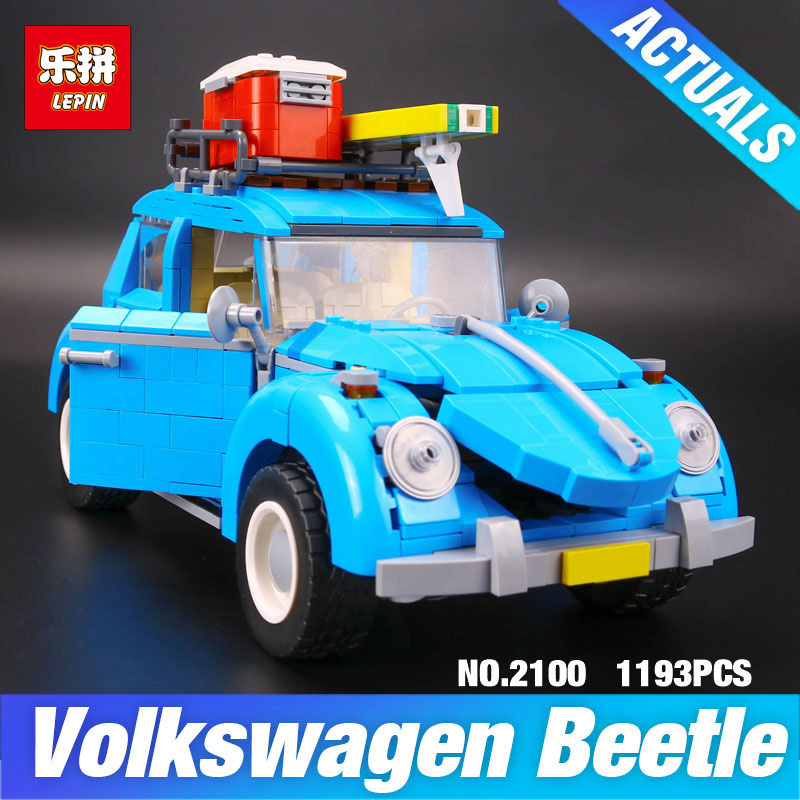 LEPIN 21003 Series City Car Volkswagen Beetle model Building Blocks Compatible 10252 Blue Car Technic Toys Children DIY Boy gift new lepin 21003 series city car beetle model educational building blocks compatible 10252 blue technic children toy gift