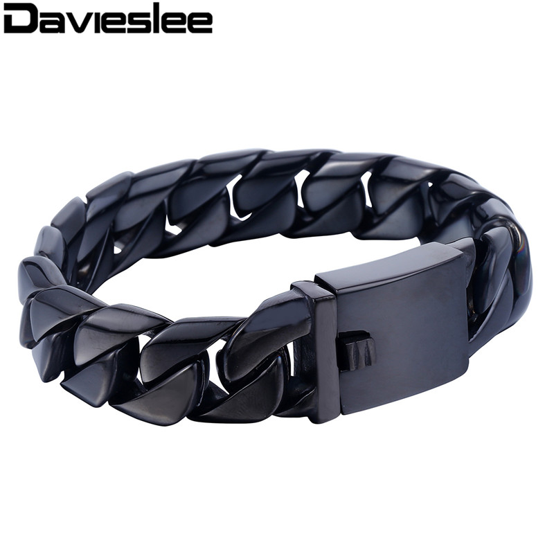 16mm Black Silver Gold Tone Smooth Curb Link 316L Stainless Steel Bracelet Mens Boys Chain Customized Jewelry LHB417