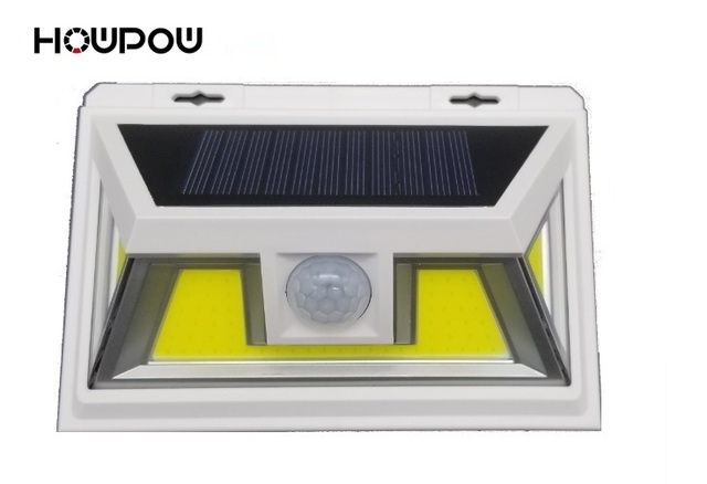 HOWPOW White 10W PIR Motion Sensor Solar LED Light 74 COB LED Waterproof Light Outdoor Wide Angle Wall Lamp