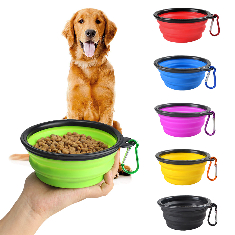 Folding Portable Dog Bowl Travel Bowl With Buckle For Food Water Container Feeder Collapsible Silicone Pet Supplies Accessories
