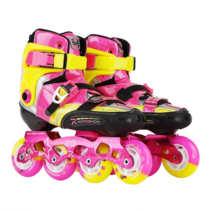 Japy EUR Size 30-38 Roadshow RX3CC Child Inline Skates Carbon Fiber Kid's Roller Skating Shoes Slalom Sliding Patines Rockered