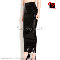 Sexy black long Latex skirt pencil Rubber skirt cutting at back Gummi skirt Playsuit Bodycon XXXL plus size bottoms QZ 131