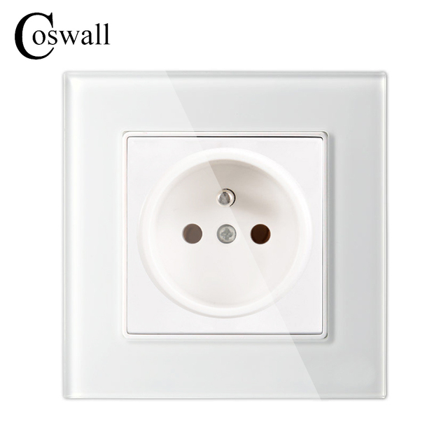 Coswall Wall Crystal Glass Panel Power Socket Plug Grounded 16A ...