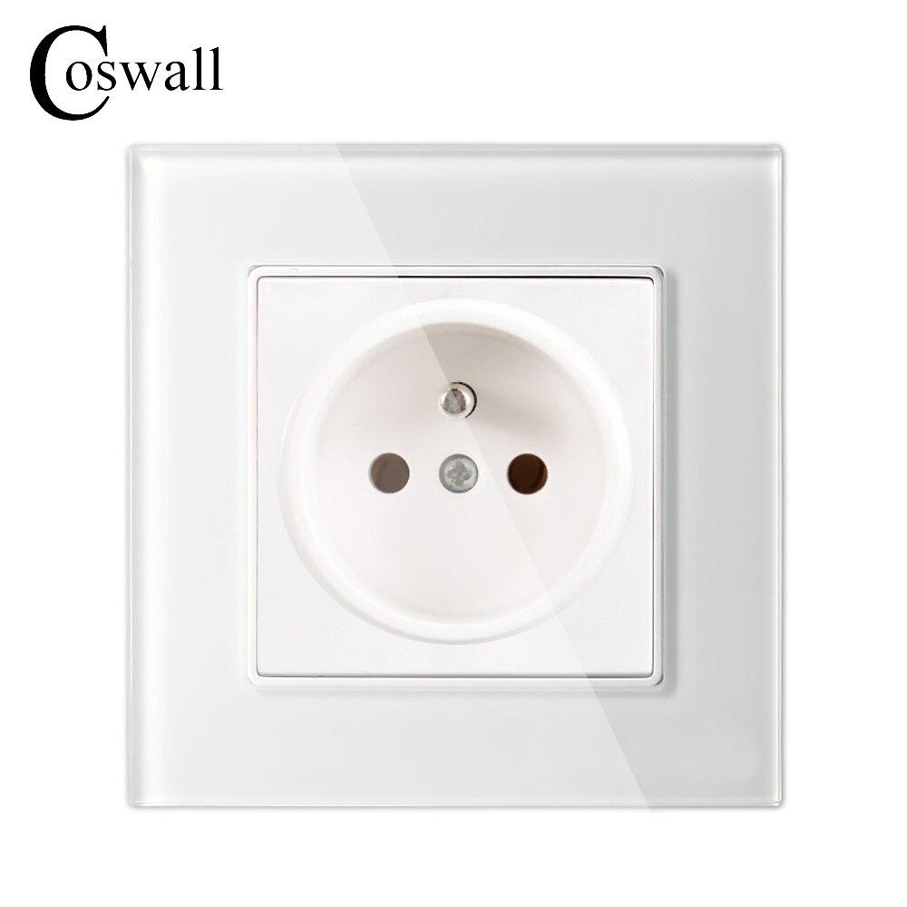 Coswall pared cristal Panel toma de corriente enchufe conectado 16A toma de corriente estándar francesa 86mm * 86mm