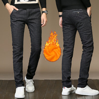 2017 Winter Fashion Casual Plaid Privathinker Pleuche Fleece Warm Pants Men Gold Velvet Long Pants Male