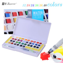 superior 12 18 24 30 36 40 colors Solid Watercolor Paints Half Pans Pigment Set For