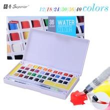 hea 12/18/24/30/36/40 värvid Tahked akvarellvärvid Poolpannid Pigment Set kunstnikule joonistamiseks Art Supplies pintsli pliiatsiga